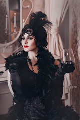 elegant woman in retro style of the 20s, lady flapper in a black dress, dark hair and a bandage, feather boa, long gloves. image of a gangster girl on a party, old fashion. art processing