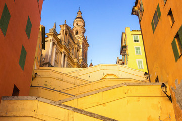 Fototapete - Stairs leading to Basilique Saint Michel in Menton, France