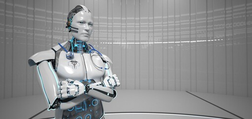 Fototapete - Humanoid robot as a medical assistant with a stethoscope. 3d illustration.