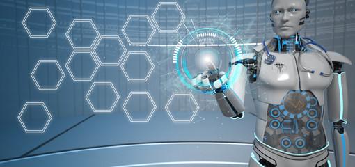 Fototapete - Humanoid Robot Medical Assistant Click HuD hexagons