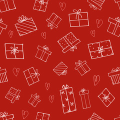 Christmas gift repeat pattern with hand drawn elements. Use for web or print. Perfect for wrapping paper or background texture, holiday greeting cards and invitations.