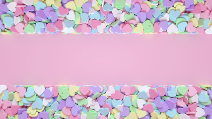 Pastel Colorful Heart Candies Isolated On The Pink Abstract Background - Valentine's Day - 3D Illustration