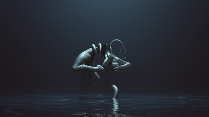 Sexy Water Demon Woman with Tentacles Wrapped Around Her Lifting Her Up Wearing Fishnet Leggings Over a Swimsuit in a Watery Foggy Void 3d Illustration 3d render