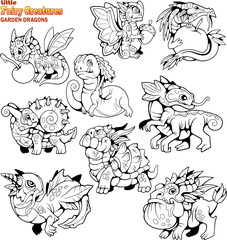 cute, small, cartoon, garden dragons, coloring book, set of funny images