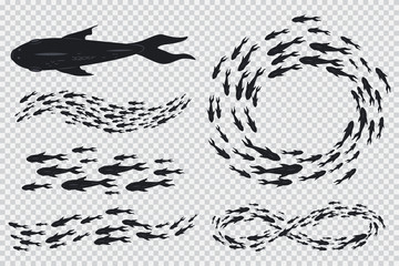 Shoal and school of fishes vector set of black silhouettes isolated on transparent background.