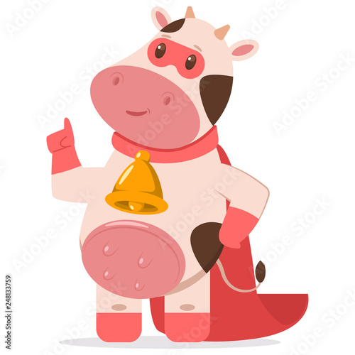 Cute superhero cow in a red mask and cape  Vector cartoon