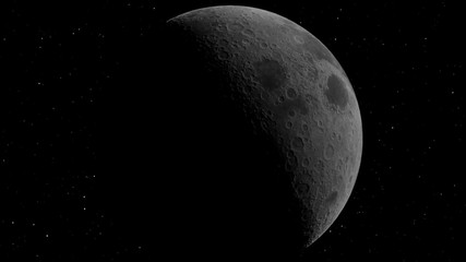 Half Moon Background / Realistic moon / The Moon is an astronomical body that orbits planet Earth, being Earth's only permanent natural satellite. Elements of this image furnished by NASA