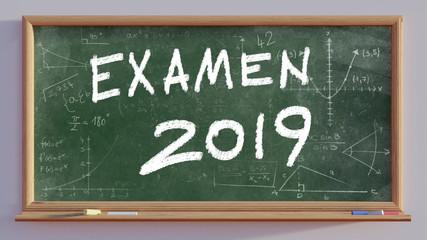 3D render of a blackboard with text Examen 2019