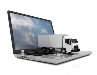 3d laptop and truck.3d illustration