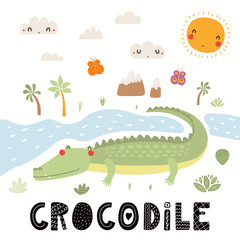 Poster Illustrations Hand drawn vector illustration of a cute crocodile, African landscape, with text. Isolated objects on white background. Scandinavian style flat design. Concept for children print.