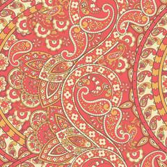Paisley Ornamental seamless pattern. kalamkari vector fabric background