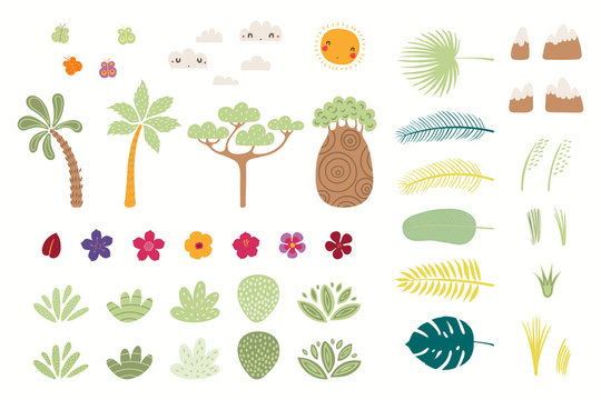 Set of tropical elements sun, clouds, butterflies, mountains, trees, flowers, palm leaves, shrubs. Isolated objects on white. Hand drawn vector illustration. Flat style design. Concept for kids print