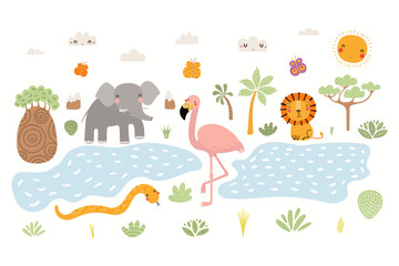 Foto auf Leinwand Abbildungen Hand drawn vector illustration of cute animals lion, flamingo, elephant, snake, African landscape. Isolated objects on white background. Scandinavian style flat design. Concept for children print.