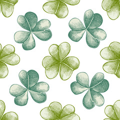 Seamless pattern with hand drawn pastel clover