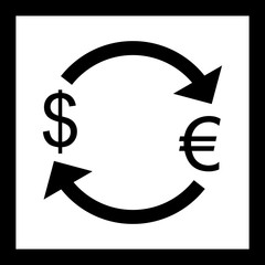 Vector Exchange Euro With Dollar Icon
