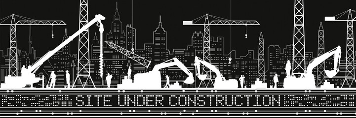Site Under Construction illustration. Buildings panorama, industrial landscape, Constructional cranes and excavators, urban scene. People working. Vector lines design art
