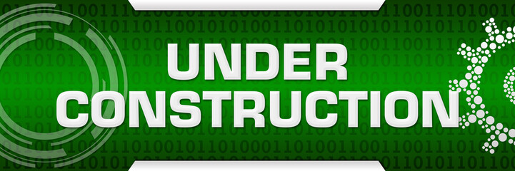 Under Construction Green Binary Background Technical