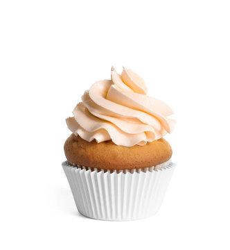 Delicious cupcake with light orange cream on white background