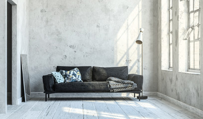 Gemütliches Sofa mit Kissen vor heller Wand