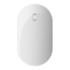 White modern computer mouse. Wireless input device for the hand manipulation. Isolated on the white background.