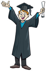 Happy graduated student wearing academic dress and holding diploma