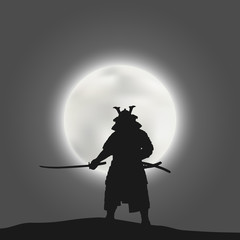 Japanese samurai warrior with a drawn sword on the background of the moon