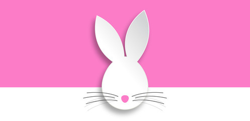 Rabbit head on pink banner