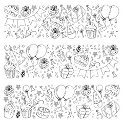 Birthday party. Pattern for invitations, banners, templates.
