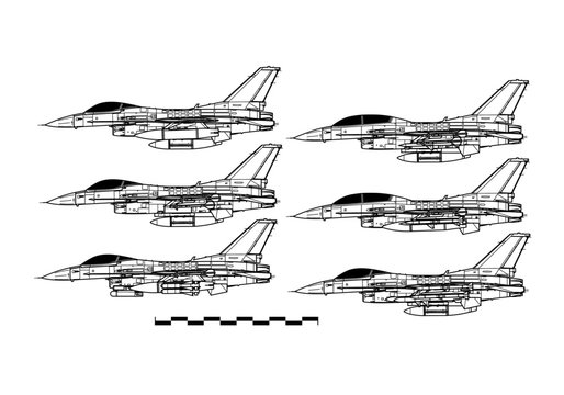 Lockheed Martin F-16. Outline drawing