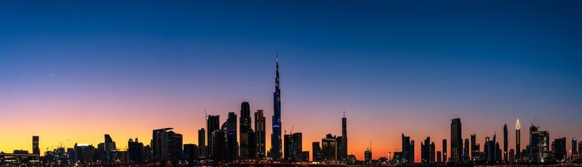 Super high resolution image of Dubai Downtown skyline at Magic hour