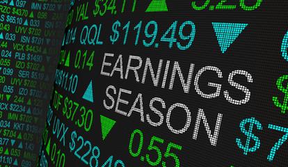 Earnings Season Company Reports Stock Market Ticker Words 3d Illustration