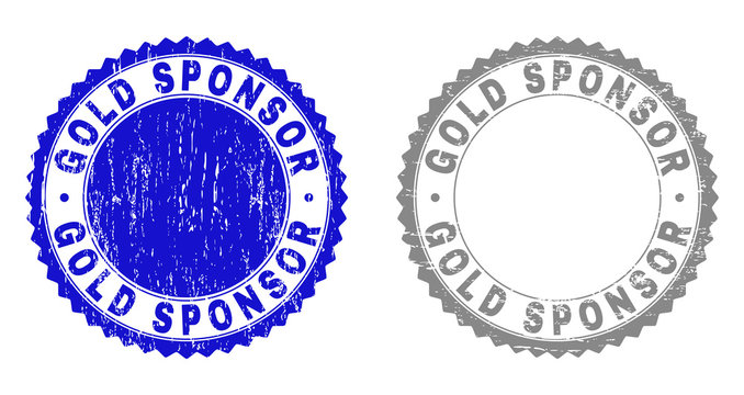 Grunge GOLD SPONSOR stamp seals isolated on a white background. Rosette seals with distress texture in blue and gray colors. Vector rubber watermark of GOLD SPONSOR tag inside round rosette.