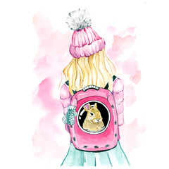 watercolor drawing of girl in pink jacket and hat with rabbit in backpack, spring watercolor illustration on pink watercolor background