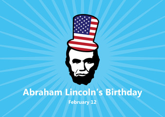 Abraham Lincoln's Birthday vector. February 12, the birthday of President Abraham Lincoln. Abraham Lincoln vector icon. Important day Fotomurales