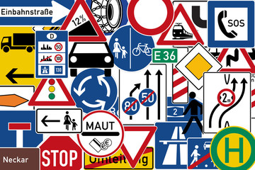 set of labels or traffic signs