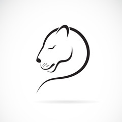 Vector of female lion design on white background. Wild Animals. Female lion logo or icon. Easy editable layered vector illustration.