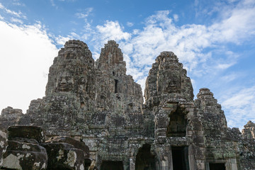 faces on the towers of Angkor Thom temple, Siem Reap, Cambodia, Asia