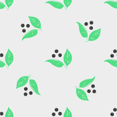 Seamless vector pattern with berries and leaves. Floral background