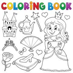 Wall Murals For Kids Coloring book princess topic set 1