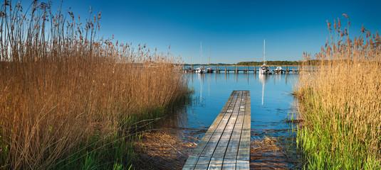 Seglerhafen, Steg im Schilf, Insel Rügen, Mecklenburg-Vorpommern, Deutschland