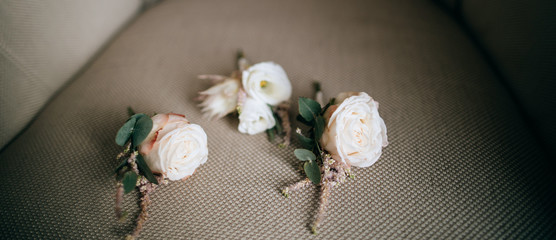 Wedding bouquets for the groom's jacket