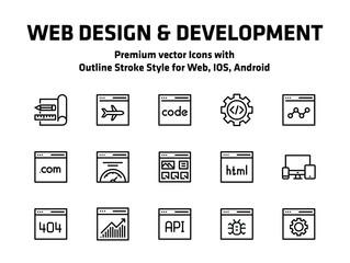 Web Design And Development Thin Line Icons