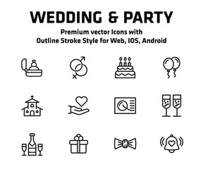 Wedding And Party Thin Line Icon