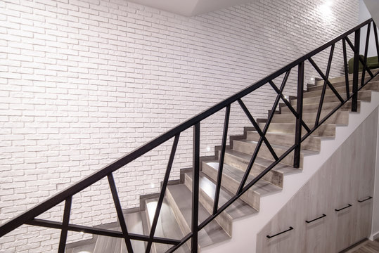 Uzhhorod, Ukraine - 07 February. corridor and stairs in the new hostel with the latest interior for travelers, students, vacationers