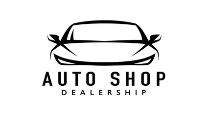 Auto shop sports car dealership logo with a line style silhouette icon of a conceptual shape performance motor vehicle template. Vector illustration.