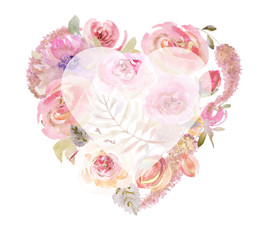 Heart of watercolor flowers. Heart Shaped Watercolor Roses. Floral arrangements