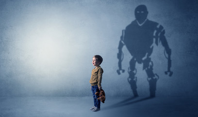 Little boy s self image appear as a big robotman shadow on his background