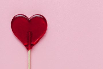 Valentine day background with hearts. Pink background. Top view