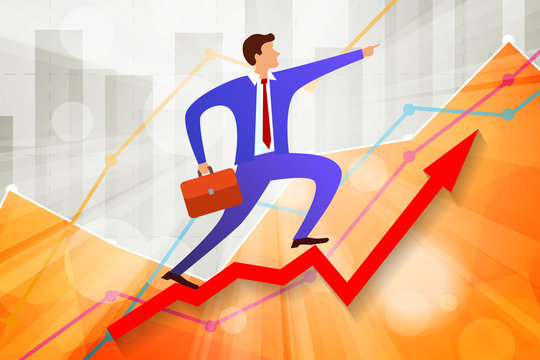 young businessman going up on growing steps Arrow and points forward in direction of movement with business statistics chart showing various visualization graphs on background