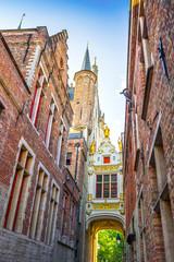 Poster Bridges Historic buildings in the Brugge city center, Belgium